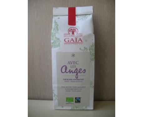 """Thé blanc AVEC LES ANGES Vanille, pétales de fleurs 100g """"Les Jardins de Gaïa"""""""